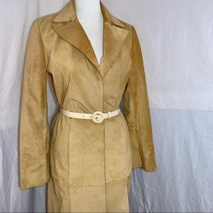 [I•N•C] Beige Suede Leather Trench Coat - Size S